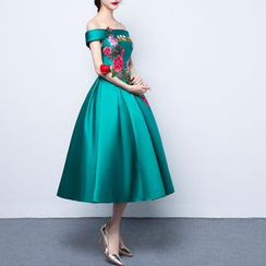Luxury Style - Flower Embroidered Off Shoulder Evening Dress