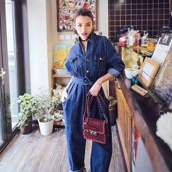 Ozawa - Long-Sleeve Loose-Fit Denim Jumpsuit