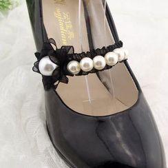 Blue Fairy - Faux-Pearl Lace Shoes Strap