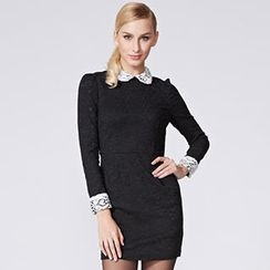 O.SA - Crochet-Collar Lace Sheath Dress