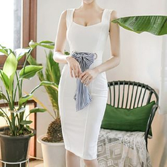 Aurora - Sleeveless Bow-Accent Sheath Dress