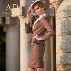 Aision - Set: Ruffle Blazer + Blouse + Pencil Skirt