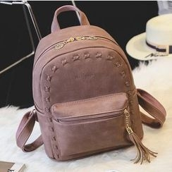 Merlain - Faux Leather Backpack with Tassel