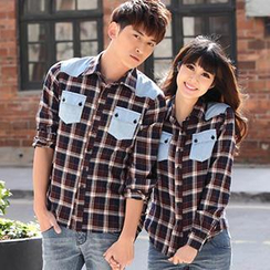 Igsoo - Couple Long-Sleeve Plaid Shirt