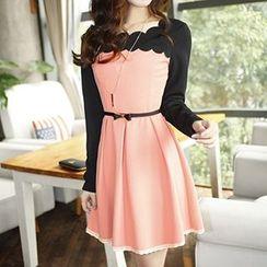 Rocho - Long-Sleeve Lace Panel A Line Dress