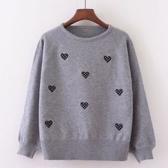 Tulander - Heart Embroidered Sweater