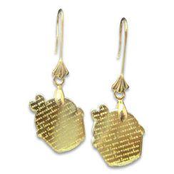Sweet & Co. - I Love Cupcakes Mirror Gold Charm Earrings