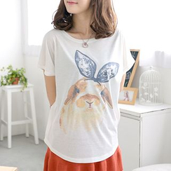 59 Seconds - Dog-Print Short-Sleeve Top