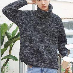 ZZP HOMME - 高領混色寬鬆毛衣