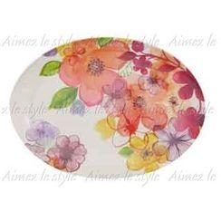 Aimez le style - Aimez le style Oval Plate Aqua Fleur