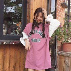 COMON - Long-Sleeve Lettering T-Shirt Dress