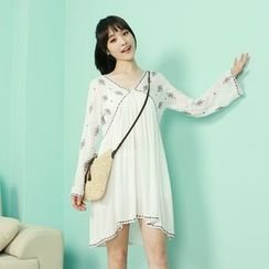 Dodostyle - Embroidered Cutout-Back Bell-Sleeve Dress
