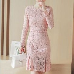 Eighoo - 长袖塑身蕾丝连衣裙