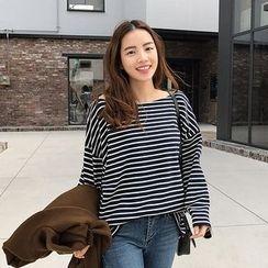 Seoul Fashion - Boat-Neck Stripe T-Shirt