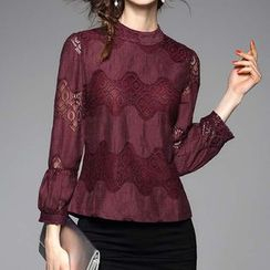 Kotiro - Lace Panel Lantern Sleeve Top