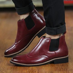 Preppy Boys - Genuine-Leather Wing-Tip Ankle Boots