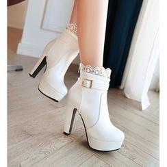 佳美 - 蕾絲邊高跟短靴