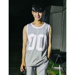 STYLEMAN - Contrast-Piping Number Tank Top