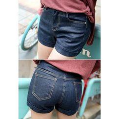 REDOPIN - Stitch-Detail Denim Shorts