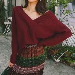 DABAGIRL - V-Neck Loose-Fit Sweater
