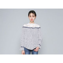 Envy Look - Lace-Panel Striped Blouse