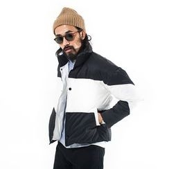 YIDESIMPLE - Color-Block Padded Coat