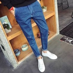 ZZP HOMME - 字母刺绣直筒牛仔裤