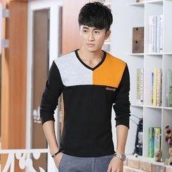 Walwa - Colour Block V-neck Long-Sleeve T-shirt
