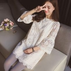 Cocofield - 3/4-Sleeve Lace A-Line Dress