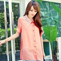 OrangeBear - Lace Layered-Collar Chiffon Shirt