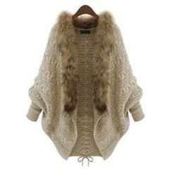 AGA - Detachable Faux Fur Collar Batwing-Sleeve Chunky Cardigan
