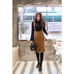 CHERRYKOKO - Buttoned Wool Blend Knit Suspender Skirt