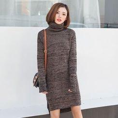 菲兒 - 樽领长尾毛衣连衣裙