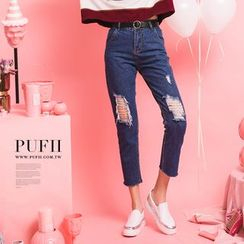PUFII - Distressed Cropped Jeans