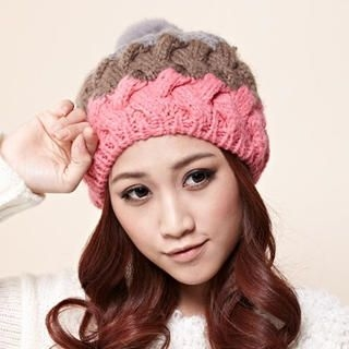 Moonbasa - Pompom-Accent Color-Block Beanie