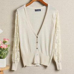 Coralie - Lace Perforated Knit Cardigan
