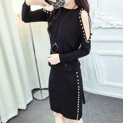 ZAPPA - Set: Embellished Cold Shoulder Knit Top + Slit Skirt