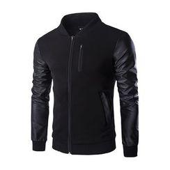 Fireon - Faux Leather Sleeve Zip Jacket