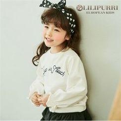 LILIPURRI - Girls Frill-Cuff Lettering Pullover