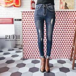 PUFII - 刷破反折瘦腿窄管丹宁牛仔裤