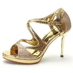 MODELSIS - Glittered Cross-Strap Sandals