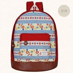 SUPER LOVER - Faux-Leather-Panel Printed Backpack