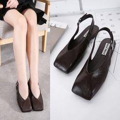 安若 - 仿皮方頭露跟涼鞋