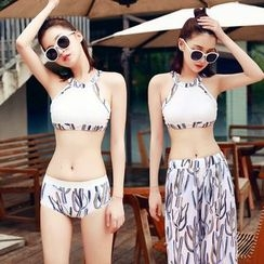 BOIE - Set: Printed Halter Bikini + Wide Leg Pants