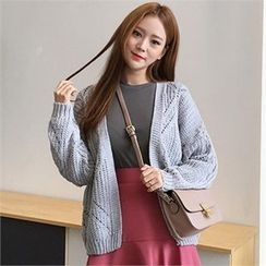 QNIGIRLS - Open-Front Pointelle-Knit Cardigan