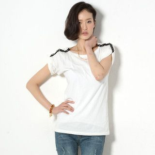 59 Seconds - Chain-Accent Short-Sleeved Top