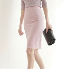 Styleberry - Slit-Back Pencil Skirt