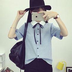Reis - Tie Neck Short-Sleeve Shirt