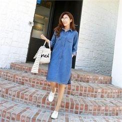 PIPPIN - Long-Sleeve Dual-Pocket Denim Shirtdress