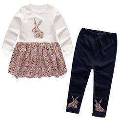 Matatabi - Kids Set: Long-Sleeve Paneled Top + Applique Pants